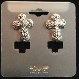 Cross-Shaped Silvertone Earrings